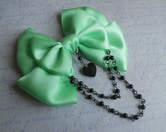 Hair clip or Brooch Mint bow with black glass heart and black beads pastel goth