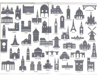 PASSPORT COVER - European Capital City Landmarks. Passport Holder, Passport Case, Travel Wallet, Travel Gift Idea, international, Monument