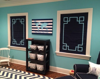 Greek key Ribbon Design Roman Shade, all materials included, just need measurements and desired trim color