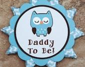 Owl themed button pin blue brown chevron ribbon (Quantity 2)