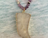 Amethyst Necklace with Druzy Tooth