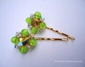 Vintage earrings hair pins - Apple green clear crystals cluster beaded hair accessories TREASURY ITEM