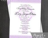 Printable Lavender Celtic Cross Communion/Baptism Invite - Digital File ONLY