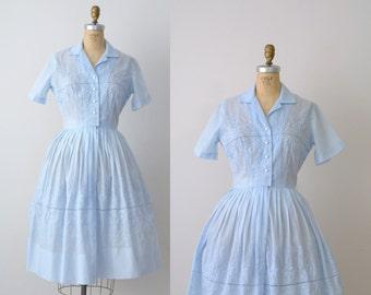 1950s Shirtwaist Dress / 50s Baby Blue Embroidered Day Dress