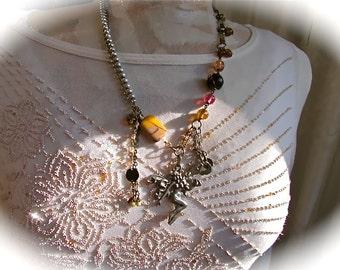 Faerie Pendant Necklace, moukaite jasper stone, mookaite bead necklace, bohemian jewelry, OOAK boho jewelry, mixed metals vintage funky, s5
