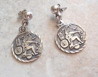 Mayan Aztec Earrings Ethnic Native Round Sterling Silver 950 Mexico Vintage AT0301
