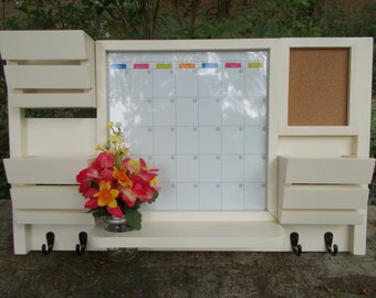 Dry Erase Magnetic Calendar--3 Slot Mail Organizer--Large Message Center--Wall Decor--Entry Way--Kitchen organizer