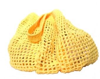 Shoulder Bag, Crochet Cotton Mesh, Yellow