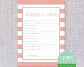 Baby Wishs Card - Printable - Pink & Grey - Stripes - Baby Book Keepsake - Baby Shower Game