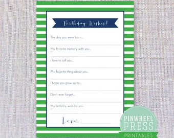 Print Your Own Birthday Wish Cards - Green & Navy - Stripes - Baby Book Keepsake - Party Game