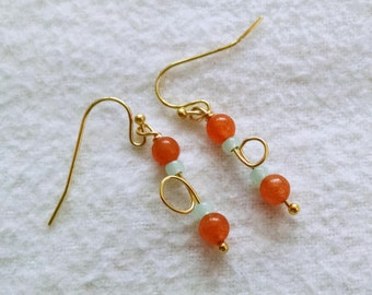 Aventurine and Jade Seed Bead Gold Tone Earrings - GEORGINA