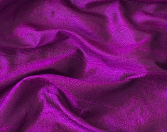 WHOLESALE OFFER 10% OFF - 6 Yards Purple 100 Percent Pure Silk Dupioni Fabric