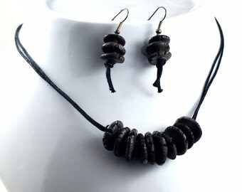 Handmade Ceramic Jewelry Black Charcoal Monochrome Necklace and Earrings Set Grey Black Jewellery