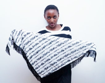 Black and white stripe scarf with fringe detail