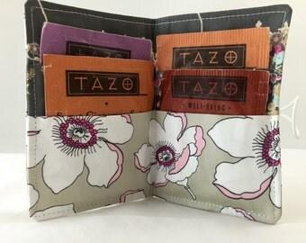 Tea Wallet Tea Bag Wallet Holder - Art Gallery Cherie Plummet in Magnolia - Ready to Ship