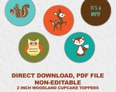 Printable Woodland Animal Cupcake Toppers or Favor Tags BOY Baby Shower DIY Digital file