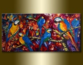 Parrot Modern Animal Oil Painting Textured Palette Knife Contemporary Original Art 20X40 by Willson Lau