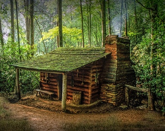 Log Cabin in the Appalachian Mountain Forest by the Smoky Mountain National Park in North Carolina No.FS0001 Fine Art Landscape Photograph