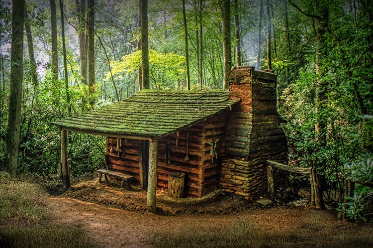 Log cabin appalachian mountains forest smoky