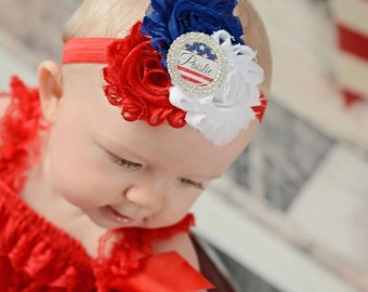 Personalized 4th of July Headband, Baby Headband, Fourth of July, Patriotic, Red White and Blue, Newborn Baby Girls