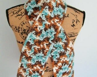 Hand crocheted scarf, teals, browns, creams