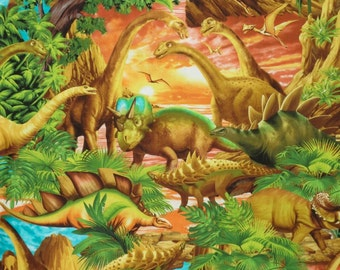 REMNANT--Fabulous Dinosaur Scenic Print Pure Cotton Fabric--3/4 Yard