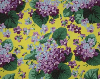 REMNANT--Classic Bouquets of Violets on Yellow Print Pure Cotton Fabric--16 INCHES