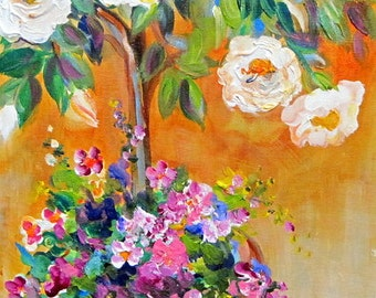 Landscape Rose tree and Pansies Original Painting 12 x 24 Art by Elaine Cory