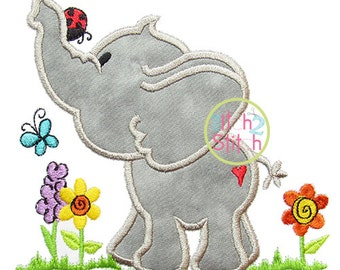 """Spring Elephant Applique Design For Machine Embroidery (""""One Thing"""" Font is NOT included) INSTANT DOWNLOAD now available"""