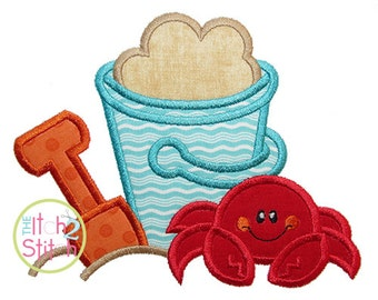 """Beach Bucket Crab Applique Design For Machine Embroidery. Shown with our """"Borders Divide"""" Font NOT Included INSTANT DOWNLOAD now available"""