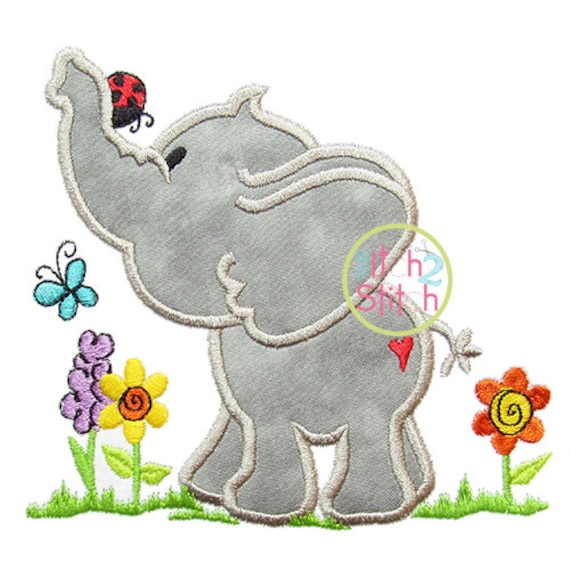 Spring elephant applique design for machine embroidery