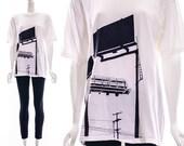 Vintage Graphic Art Print Billboard Urban Graffiti City Black White T-Shirt Broken In Soft Paper Thin Hipster Oversized Slouchy Small Medium