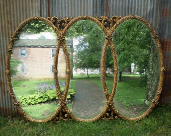 Huge Vintage Triple Mirror, Room size Mirror, Gold Baroque Mirror