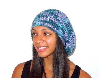 Slouchy  Hat, Crochet, Women, Teen, Men, Blue, Luxury Ombre, Unisex, Ready To Ship,
