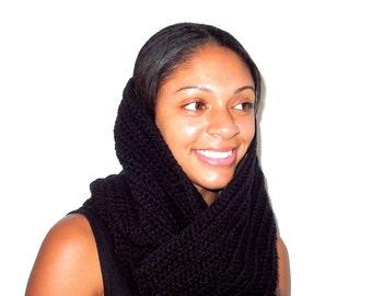 Crochet Scarf, Infinity Scarf, Circle Scarf, Women, Adult , Teen, Neck warmer, Black