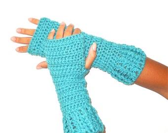 Crochet Fingerless Gloves,Turquois, Mittens, Long Fingerless Gloves