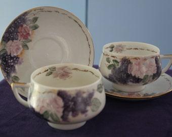Pair of Handpainted Tea Cups