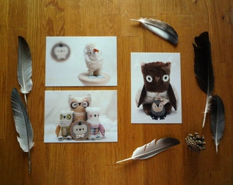 Art Postcards - set of 3 , set of  three  glossy postcards #1 , Wassupbrothers soft creatures, owls, stuffed animals, stationary, mail, toys