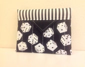 Black and White Dice Quilted Fabric Mini Snap Bag Purse Handbag Handmade 5-1/4 x 4-1/4