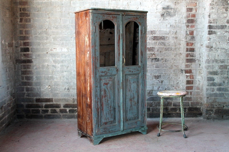 Vintage Reclaimed Cabinet Blue Distressed Antique Indian Farm Chic