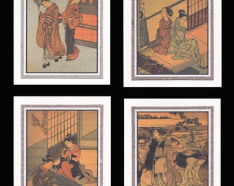 4 Blank Note Cards of Ukiyo-e Bijin gccs005