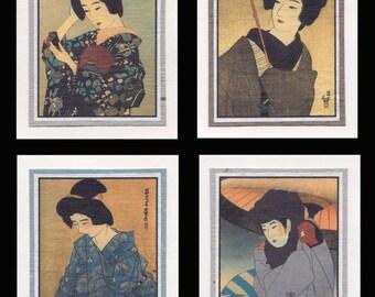 4 Blank Note Cards of Bijin by Shinsui gccs009