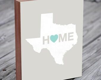 Texas Wall Art - Texas Decor - Home Sign - Texas Rangers - Wood Block Art Print