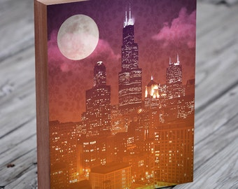Chicago Skyline Art - Sears Tower - Willis Tower - Chicago at night - Wood Block Art Print