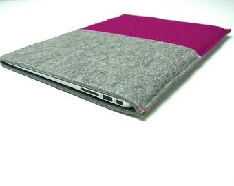 """15"""" MacBook Pro SLEEVE - felt in grey and DarkPink - woolfelt case for Macbook Pro Retina 15 inch laptop pink purple dutch design"""