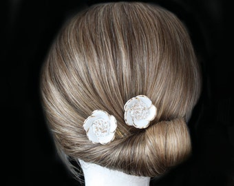 Vintage inspired white flower gold bridal hair comb wedding hair combs for bridesmaid bride vintage headpiece antique hair accessory golden