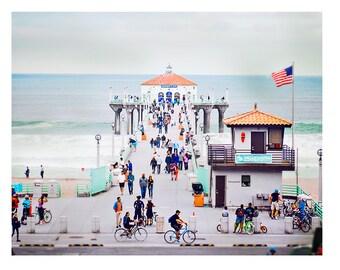 Art, Photography, Beach Scene, California, Busy Pier, Pastels, Colorful Wall Art, Coastal Home Decor, Landscape