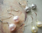 Baroque Pearl Earring in the Color of Your Choice, Cultured Freshwater Pearls with Sterling Silver Earring Hooks, Pink, Yellow, or Grey