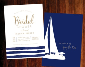 Nautical Bridal Shower invitations - digital file