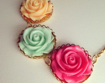 Three Rose Teal, Yellow, Pink, Rose Statement Gold Necklace